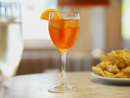 food: Aperol spritz on a restaurant table