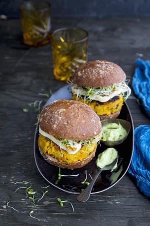 vegetarian hamburger: vegetarian burger, sweet potato burger, avocado mayonese, vegetarian food