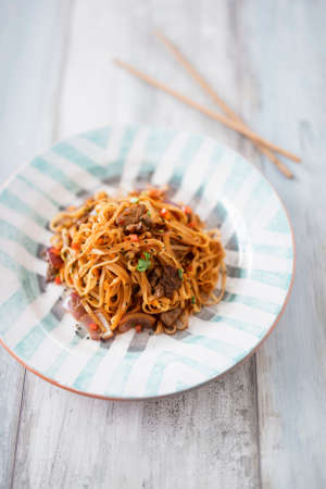 Lo Mein noodles with beef (China)