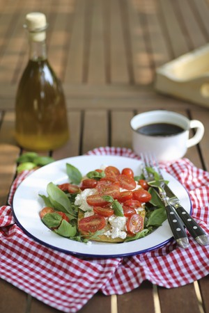 vintage furniture: Bruschetta with ricotta cheese, cherry tomatoes and basil served in garden LANG_EVOIMAGES