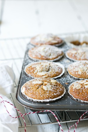 Almond muffins in a muffin tin LANG_EVOIMAGES
