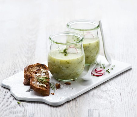 go inside: Herb and potato soup in glasses