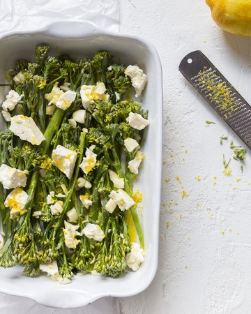 Oven-roasted broccolini with feta and lemon