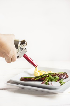 Squirting potato puree with a whipped cream dispenser on to a plate