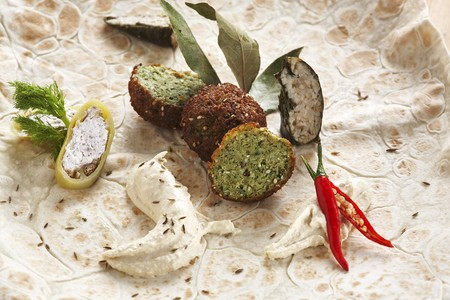 Oriental flatbread with falafel and hummus
