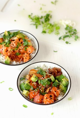 tunafish: Ahi Poke with avocado, sprouts, rice and roasted onions (Hawaii)