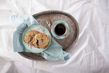 Blueberry streusel biscuits and coffee for breakfast
