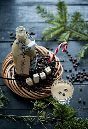colored bottle: Coffee liqueur with vanilla