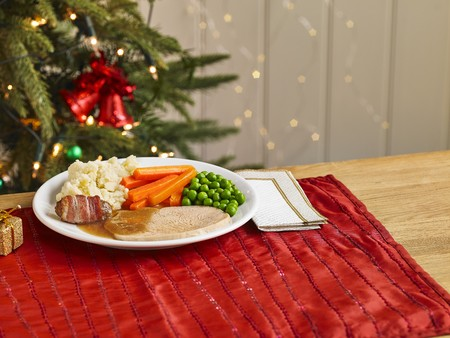A childs portion of a Christmas turkey dinner