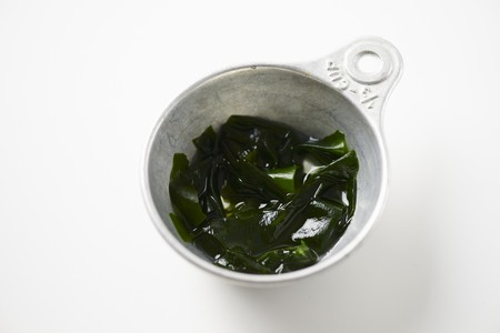 macerated: Wakame Seaweed after it has been hydrated in water for a few mintues