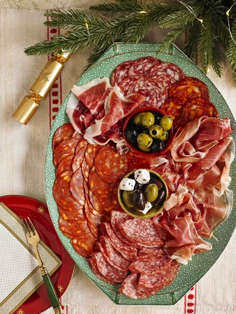 dry sausage: Continental Christmas meat platter with salami, raw ham, olives and feta