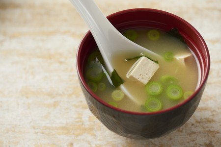bean family: A bowl of miso soup in a traditional Japanese miso bowl