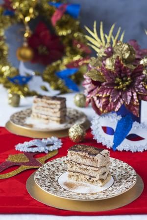 gateau: Festive Opera Cake with edible golden glitter.