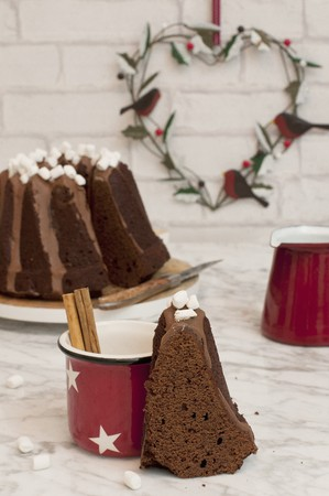choc: A Bundt cake and a cup of hot chocolate