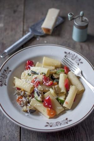 Rigatoni ortolana (Pasta with vegetables)