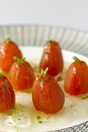 gazpacho: Tomatoes with transparent gazpacho gleatin