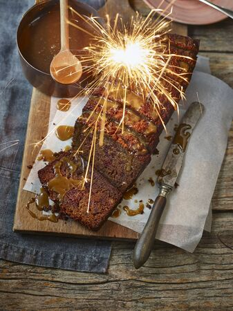 guy fawkes night: Sticky Toffee Pudding with Sparkler LANG_EVOIMAGES