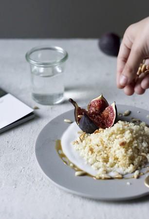 Lemon couscous with coconut yoghurt, figs and pine kernels