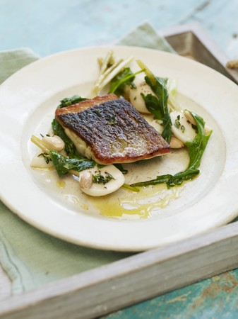 silver perch: Pan fried seabass, pickled summer turnips, wilted tops and toasted almonds