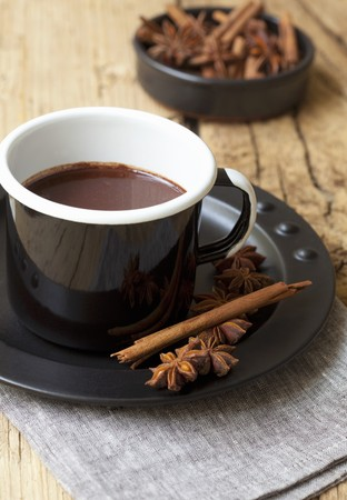 choc: Hot chocolate with cinnamon and star anise