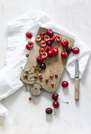 stoned: Sour cherries on a chopping board