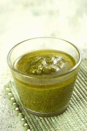 A jug of salsa verde