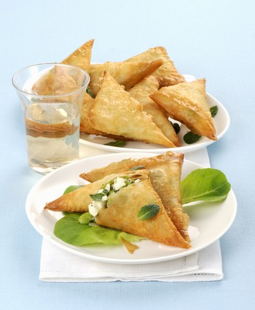 filo pastry: Filled filo pastry triangles