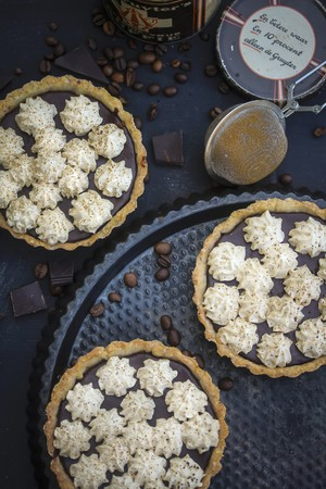 choc: Chocolate and espresso tartlets topped with mini meringue kisses