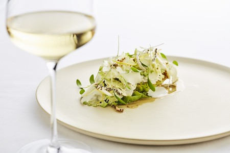 alcohol series: Salad and a glass of white wine