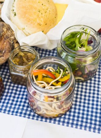 pickling: A picnic with pickled vegetables and bread