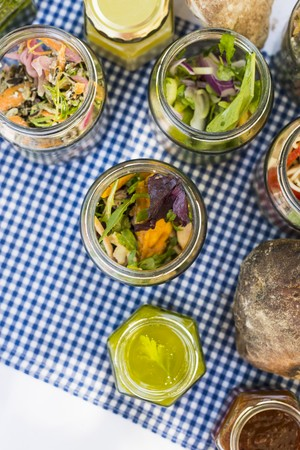 go inside: A picnic with pickled vegetables and bread