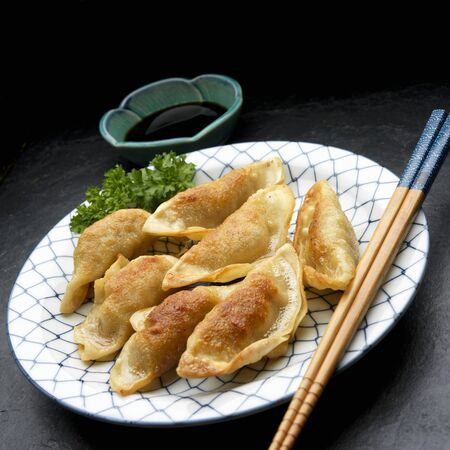 potstickers: Potstickers (fried Asian dumplings) with a dip LANG_EVOIMAGES