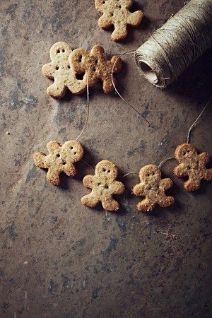gingerbread man: Gingerbread man cookies on a string