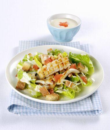 Insalata di calamari (Italian calamari salad with croutons)