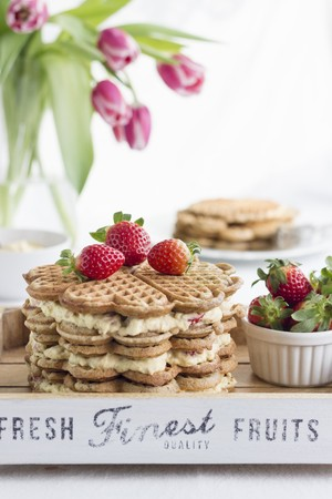 alcohol series: A waffle cake with advocaat cream and strawberries