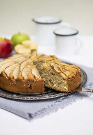 Apple cake, a piece cut LANG_EVOIMAGES
