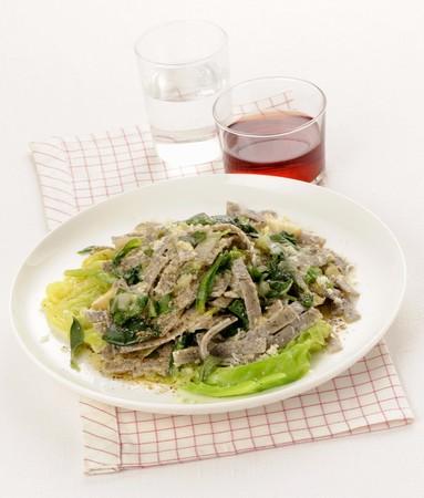 Pizzoccheri con le verdure (buckwheat pasta with vegetables, Italy)