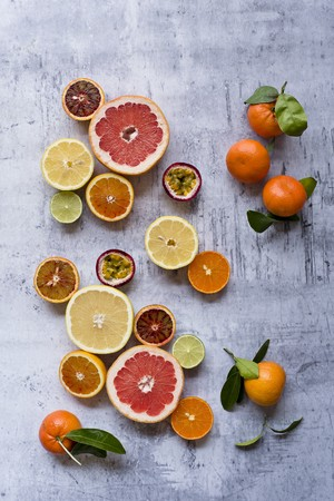 halved  half: Different types of exotic fruits