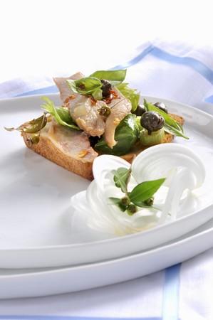 Ventresca di tonno con caponata (tuna with sweet and sour vegetables, Italy)