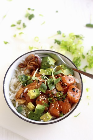 Ahi poke (raw tuna salad with avocado from Hawaii)