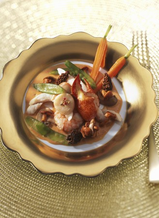 Seafood with vegetables and morel mushrooms