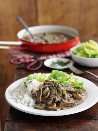 Quick beef stroganoff with mushrooms