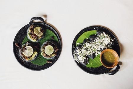 silos: Fried grasshopper tacos and huitlacoche tlacoyos with fresh tomatillos (Mexico)