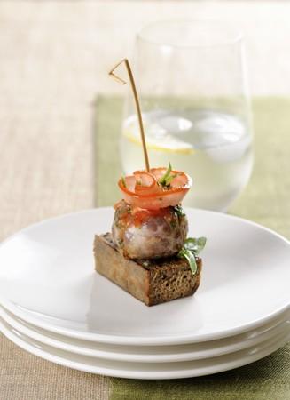 meatloaf: A pork and veal canap� kebab LANG_EVOIMAGES