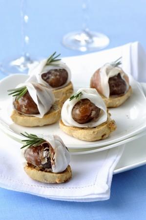 Marroni al lardo e rosmarino (glac� chestnuts with lardo, Italy)
