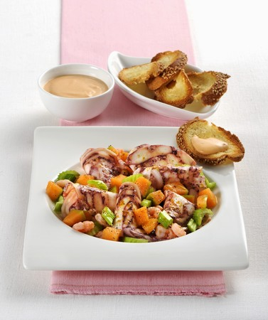 Octopus with melon and prawns