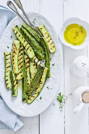 Grilled courgette and olive oil