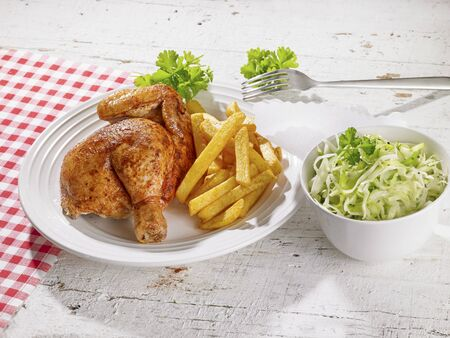 complete: Roast chicken with chips and salad