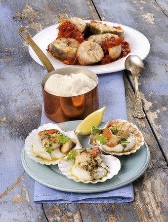 coquille: Scallops and conger eel with white polenta