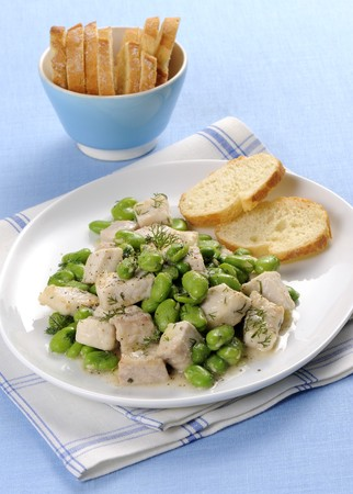 Swordfish ragout with fava beans